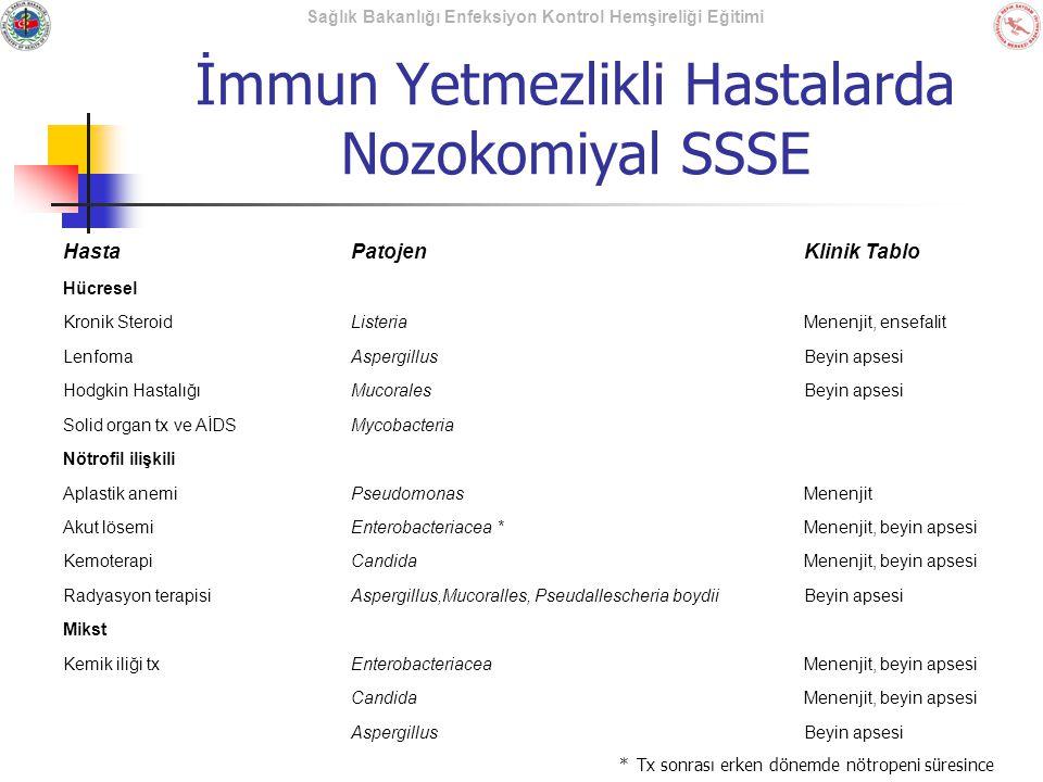 İmmun Yetmezlikli Hastalarda Nozokomiyal SSSE