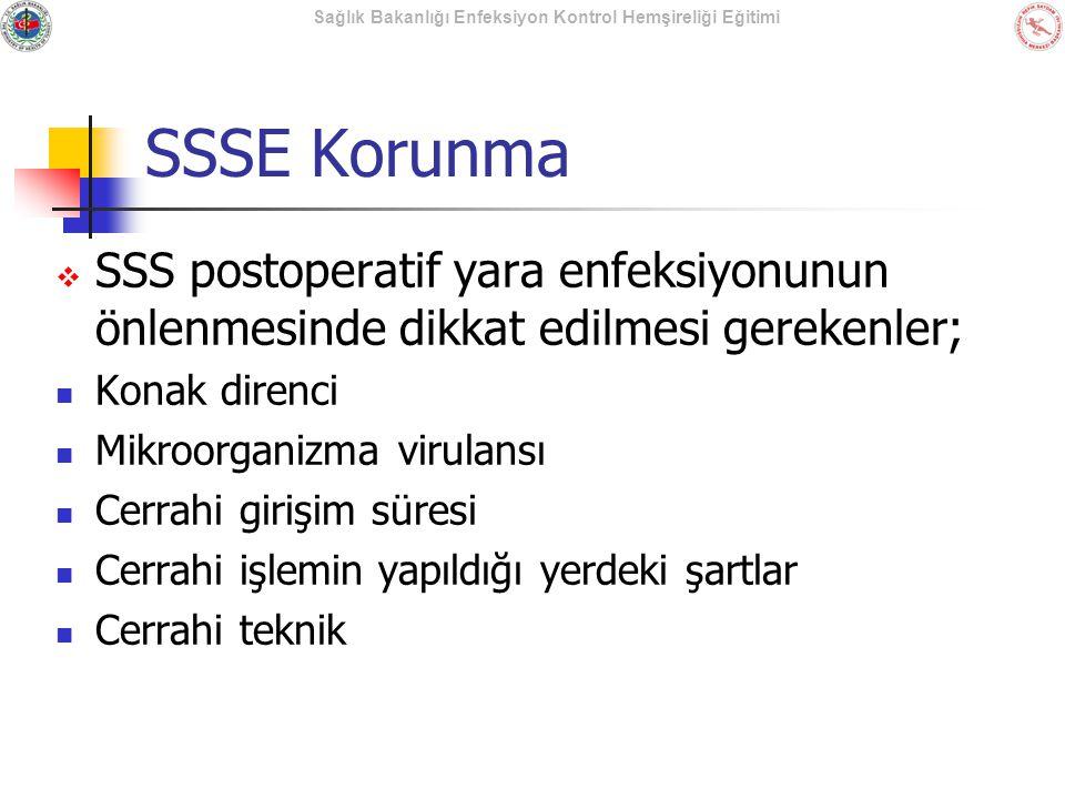 SSSE Korunma SSS postoperatif yara enfeksiyonunun önlenmesinde dikkat edilmesi gerekenler; Konak direnci.