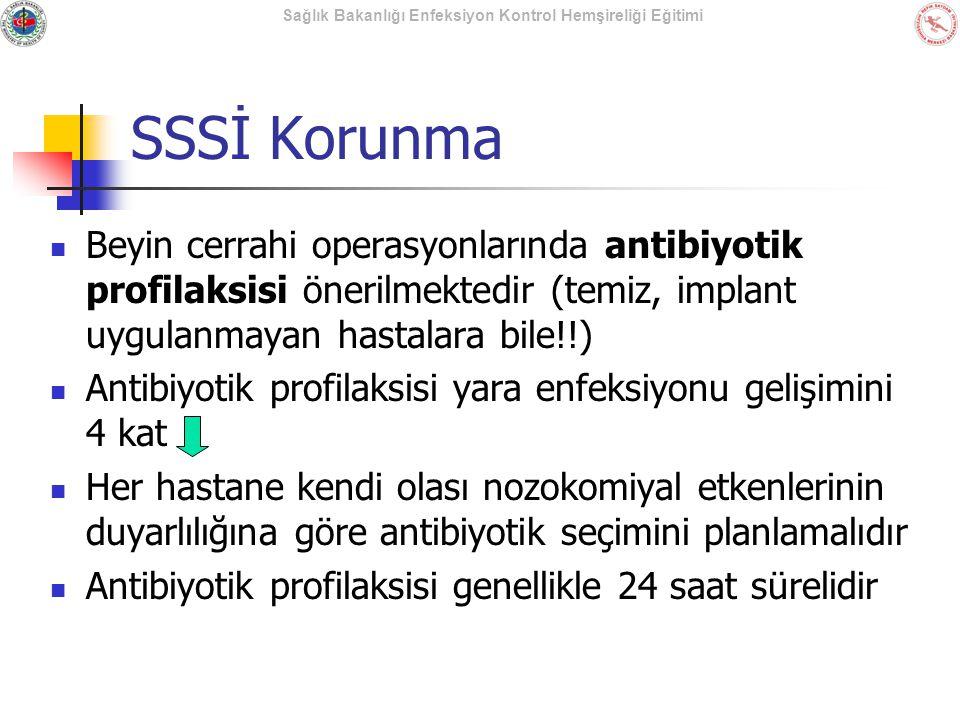 SSSİ Korunma Beyin cerrahi operasyonlarında antibiyotik profilaksisi önerilmektedir (temiz, implant uygulanmayan hastalara bile!!)