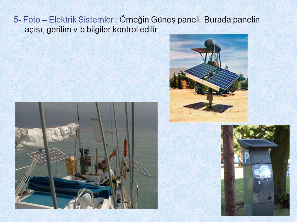 5- Foto – Elektrik Sistemler : Örneğin Güneş paneli