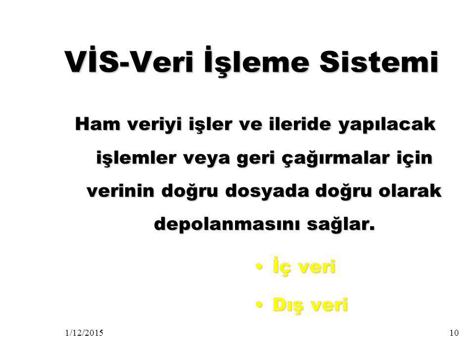 VİS-Veri İşleme Sistemi
