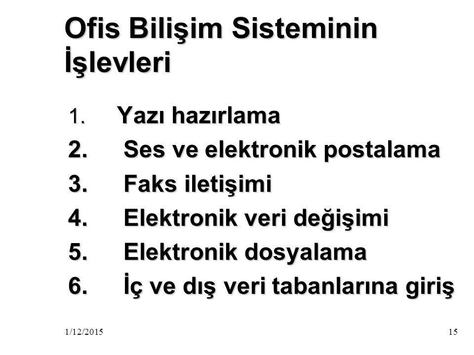 Ofis Bilişim Sisteminin İşlevleri