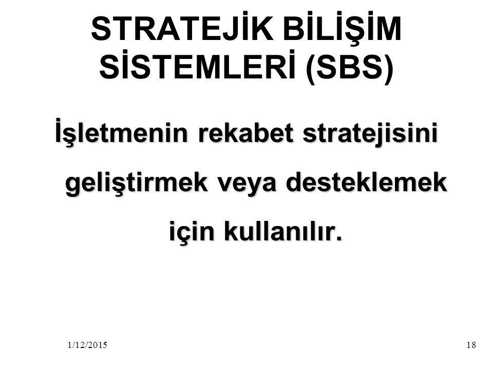 STRATEJİK BİLİŞİM SİSTEMLERİ (SBS)