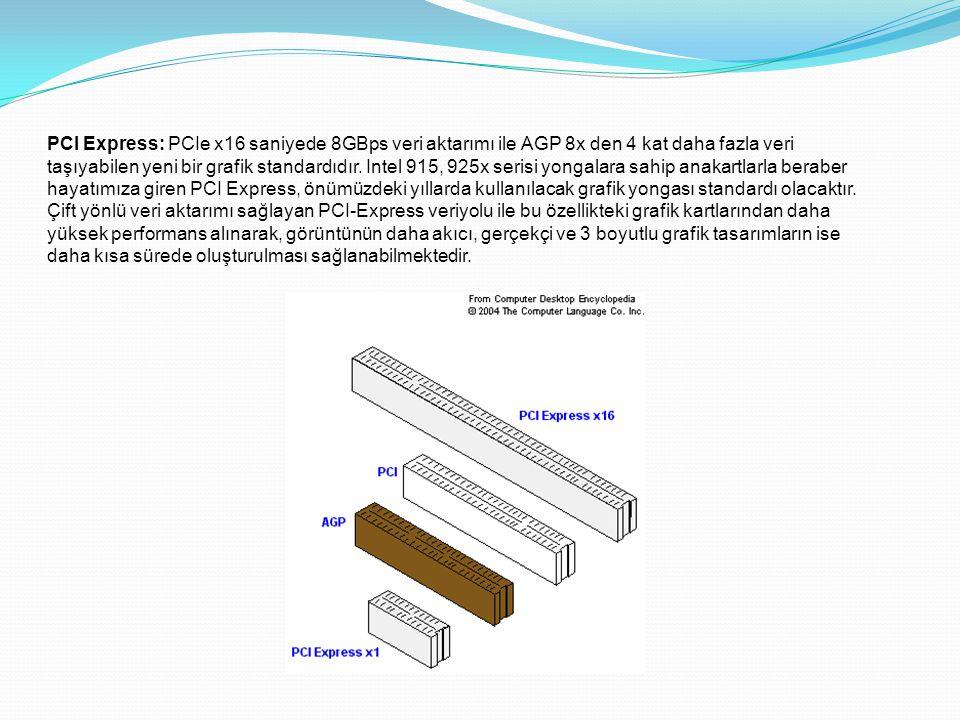 PCI Express: PCIe x16 saniyede 8GBps veri aktarımı ile AGP 8x den 4 kat daha fazla veri taşıyabilen yeni bir grafik standardıdır.