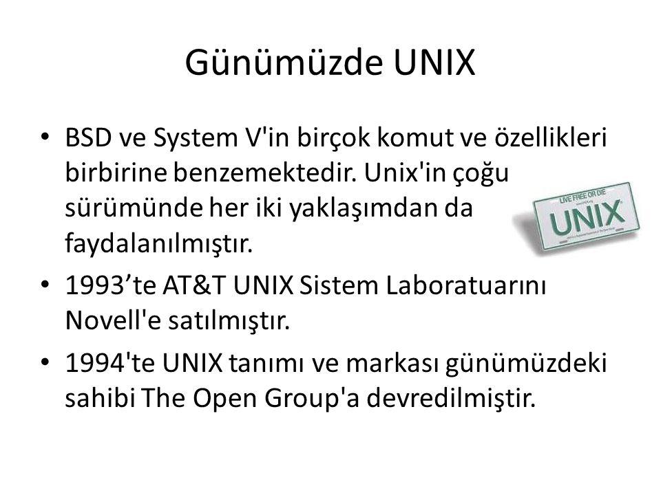 Günümüzde UNIX