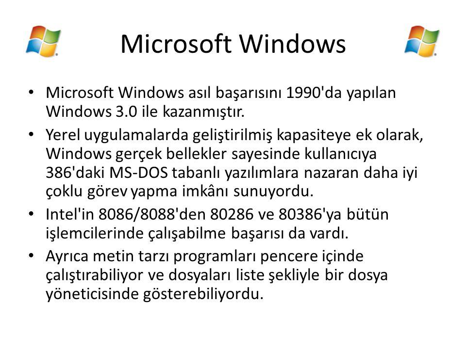 Microsoft Windows Microsoft Windows asıl başarısını 1990 da yapılan Windows 3.0 ile kazanmıştır.