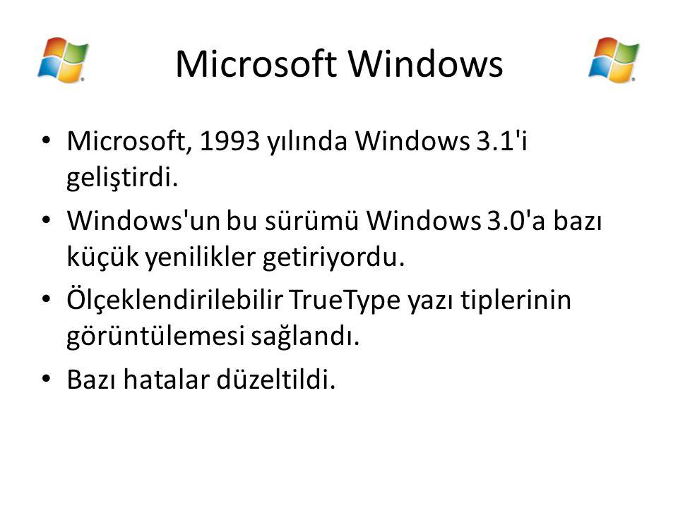 Microsoft Windows Microsoft, 1993 yılında Windows 3.1 i geliştirdi.