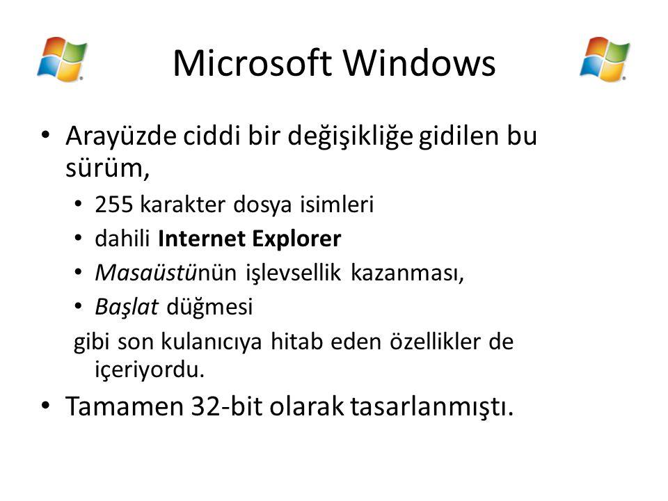 Microsoft Windows Arayüzde ciddi bir değişikliğe gidilen bu sürüm,