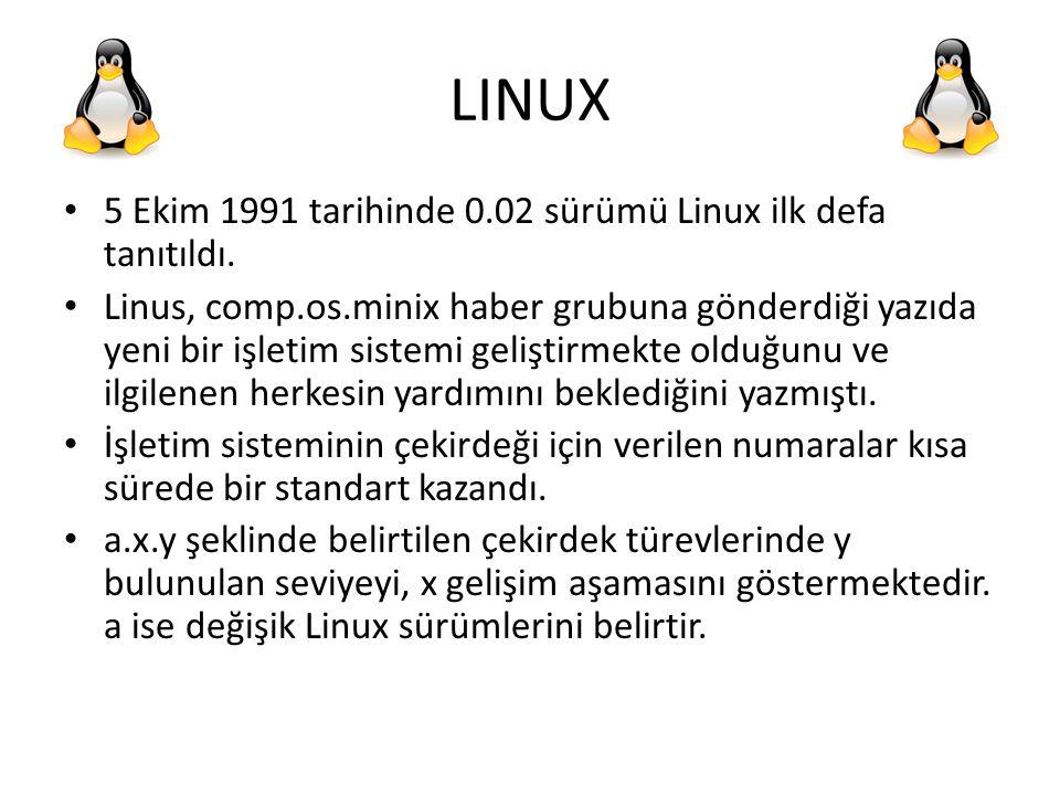 LINUX 5 Ekim 1991 tarihinde 0.02 sürümü Linux ilk defa tanıtıldı.