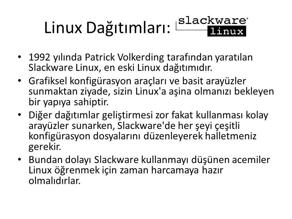 Linux Dağıtımları: 1992 yılında Patrick Volkerding tarafından yaratılan Slackware Linux, en eski Linux dağıtımıdır.