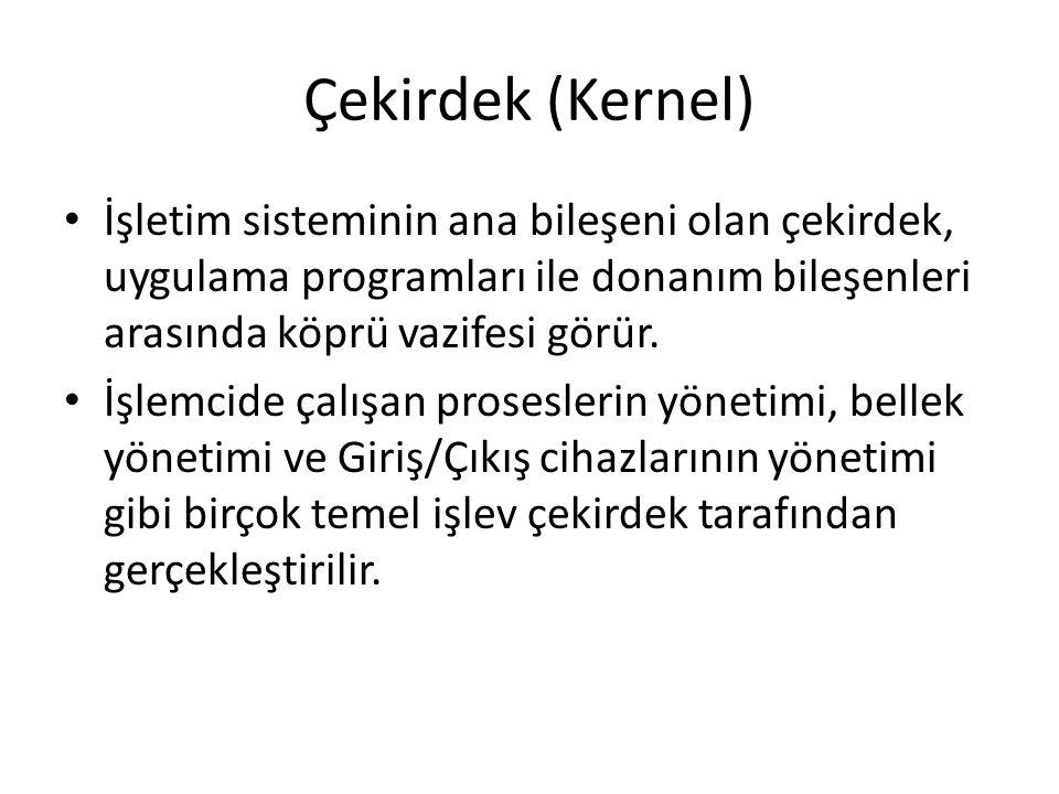 Çekirdek (Kernel) İşletim sisteminin ana bileşeni olan çekirdek, uygulama programları ile donanım bileşenleri arasında köprü vazifesi görür.