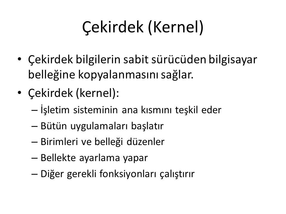 Çekirdek (Kernel) Çekirdek bilgilerin sabit sürücüden bilgisayar belleğine kopyalanmasını sağlar. Çekirdek (kernel):