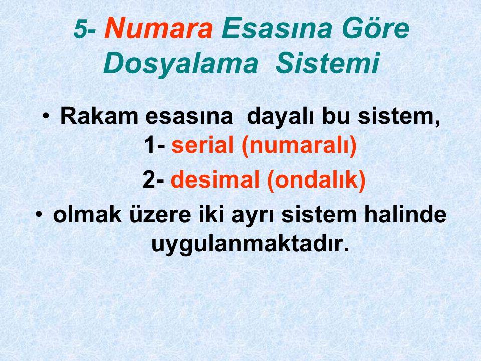 5- Numara Esasına Göre Dosyalama Sistemi