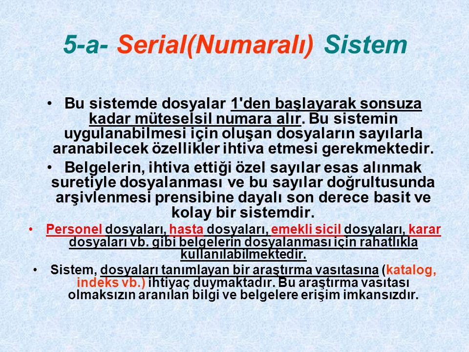 5-a- Serial(Numaralı) Sistem