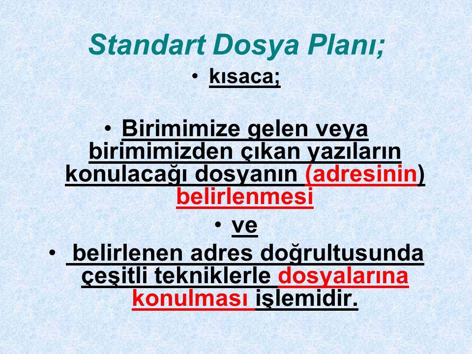 Standart Dosya Planı; kısaca; Birimimize gelen veya birimimizden çıkan yazıların konulacağı dosyanın (adresinin) belirlenmesi.