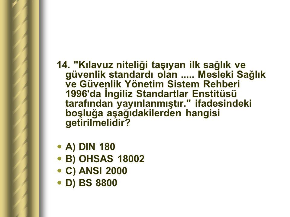 14. Kılavuz niteliği taşıyan ilk sağlık ve güvenlik standardı olan
