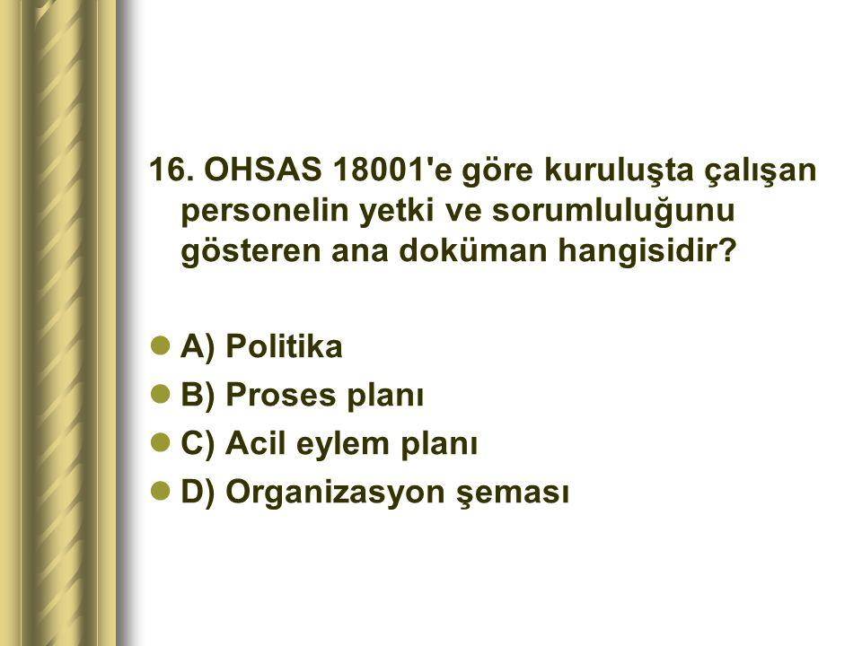 16. OHSAS 18001 e göre kuruluşta çalışan personelin yetki ve sorumluluğunu gösteren ana doküman hangisidir
