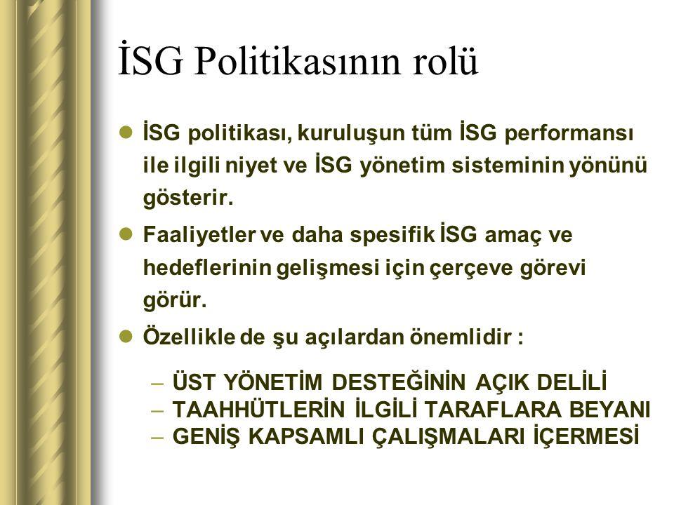 İSG Politikasının rolü