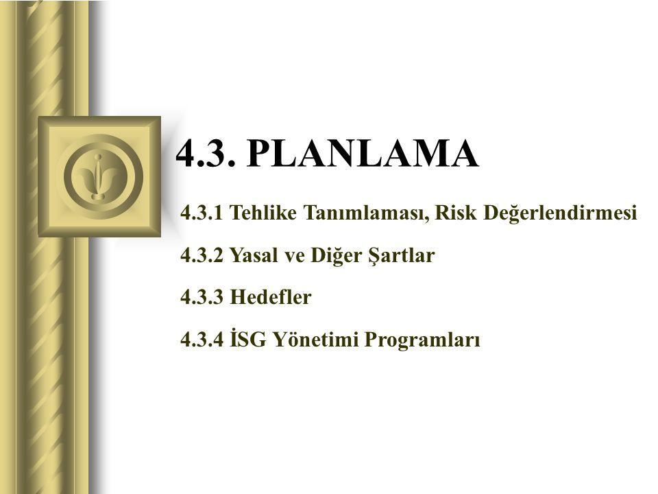 4.3. PLANLAMA 4.3.1 Tehlike Tanımlaması, Risk Değerlendirmesi