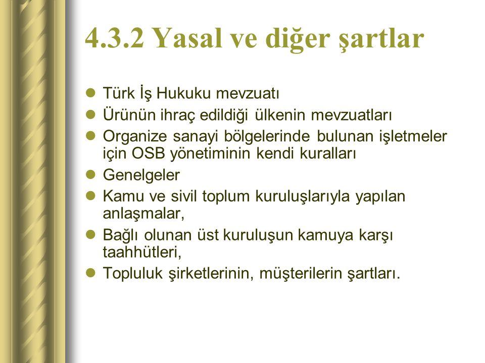 4.3.2 Yasal ve diğer şartlar Türk İş Hukuku mevzuatı