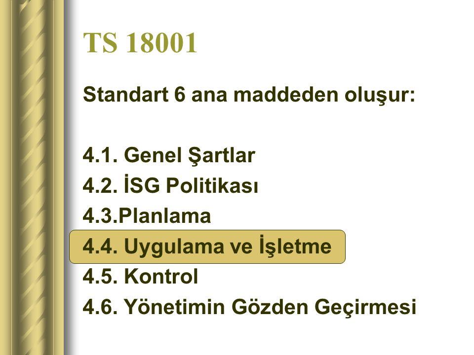 TS 18001 Standart 6 ana maddeden oluşur: 4.1. Genel Şartlar
