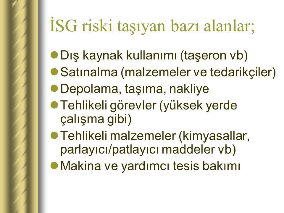 İSG riski taşıyan bazı alanlar;
