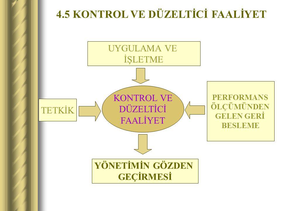 4.5 KONTROL VE DÜZELTİCİ FAALİYET