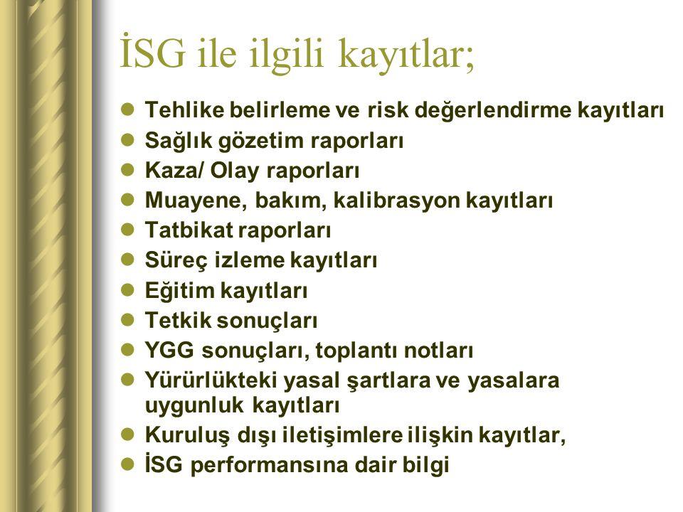 İSG ile ilgili kayıtlar;