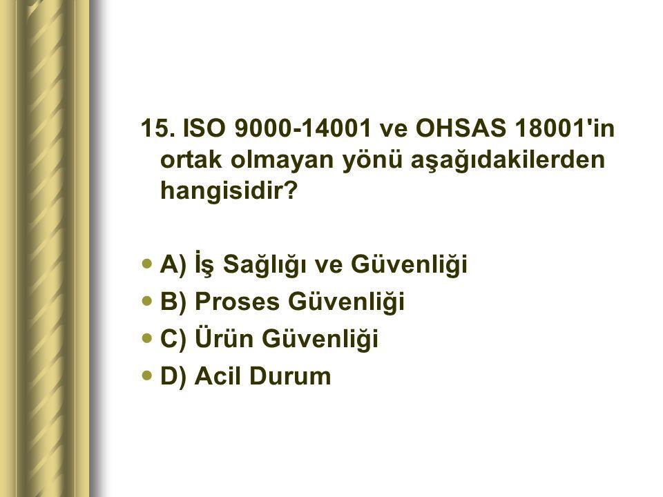 15. ISO 9000-14001 ve OHSAS 18001 in ortak olmayan yönü aşağıdakilerden hangisidir