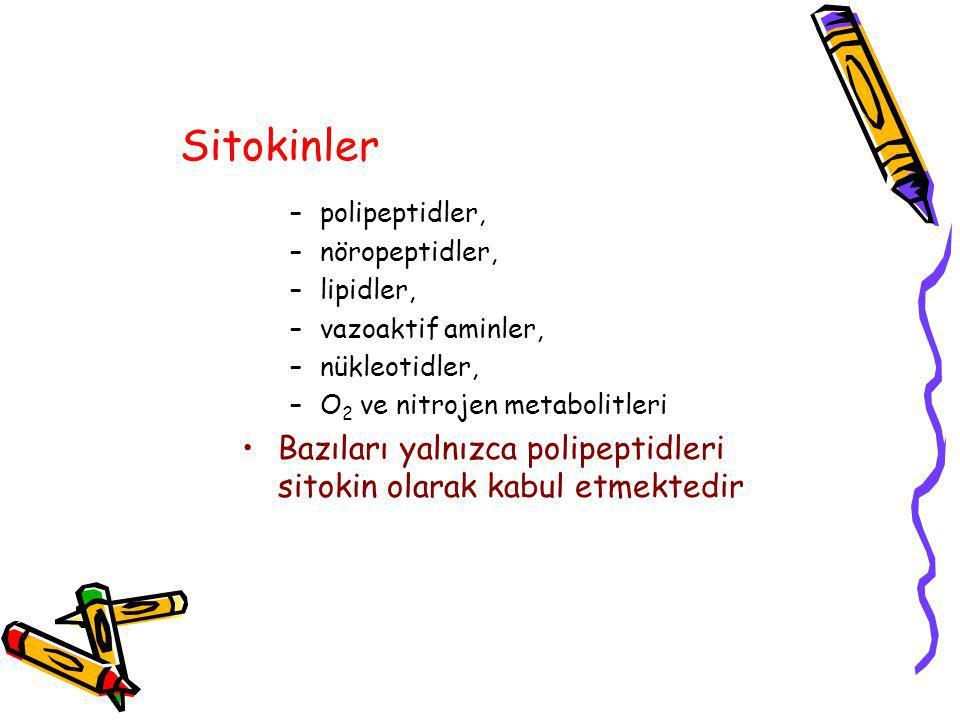 Sitokinler polipeptidler, nöropeptidler, lipidler, vazoaktif aminler, nükleotidler, O2 ve nitrojen metabolitleri.