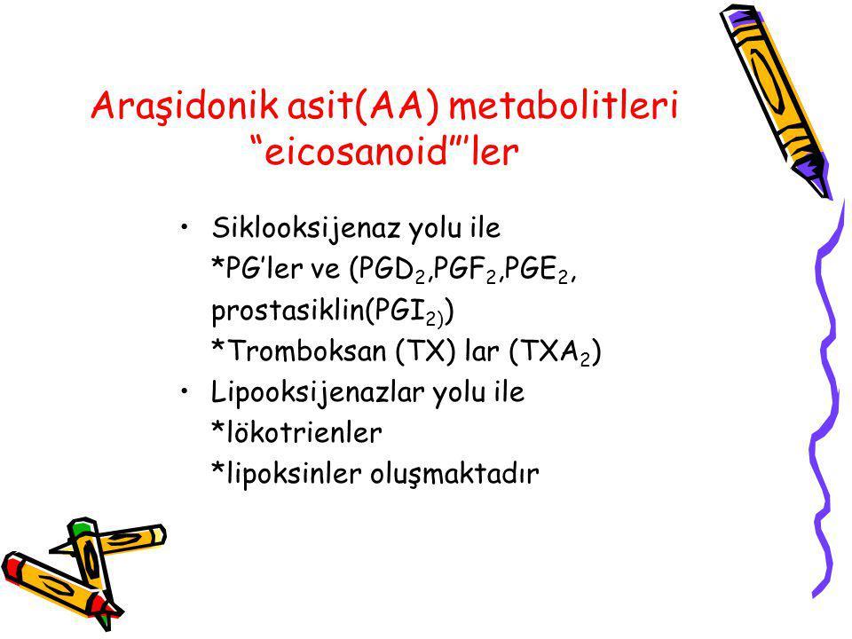Araşidonik asit(AA) metabolitleri eicosanoid 'ler