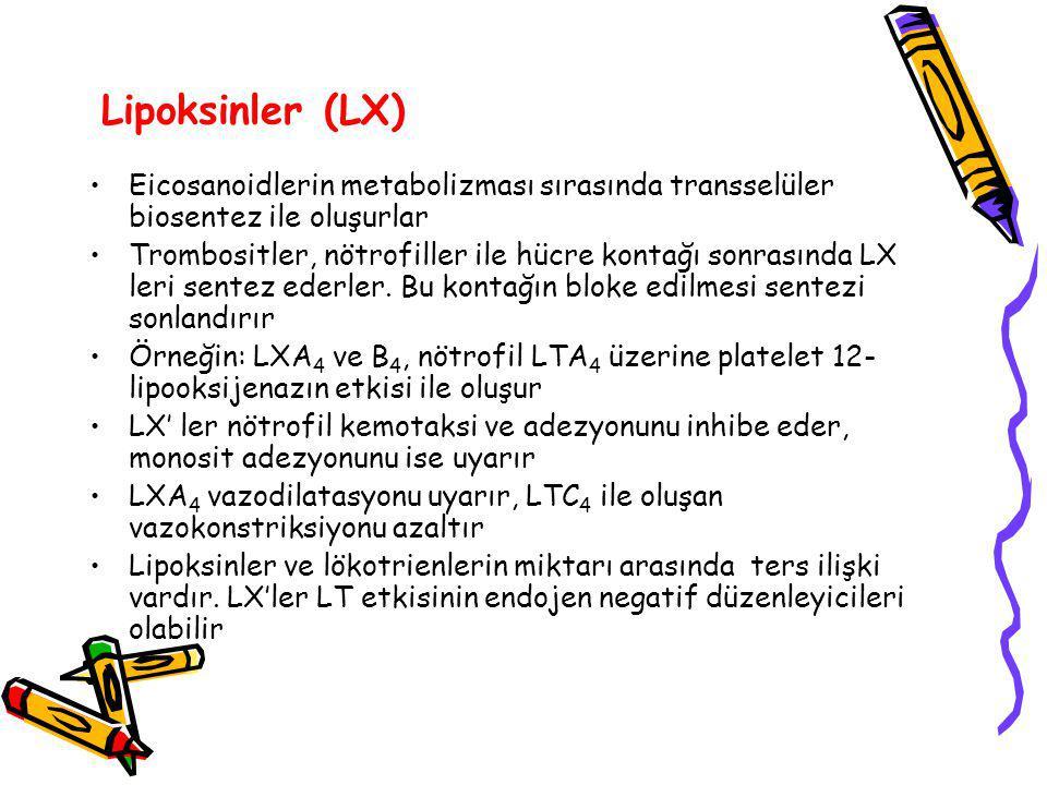 Lipoksinler (LX) Eicosanoidlerin metabolizması sırasında transselüler biosentez ile oluşurlar.