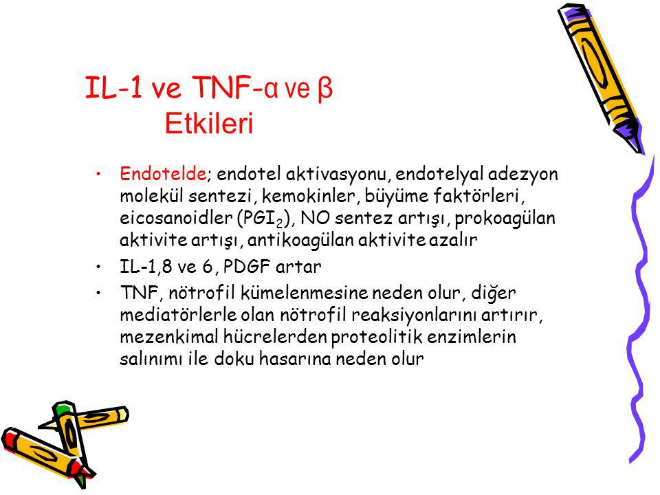 IL-1 ve TNF-α ve β Etkileri