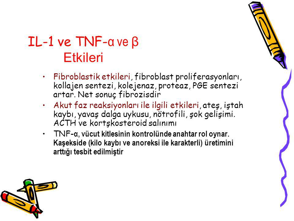 IL-1 ve TNF-α ve β Etkileri