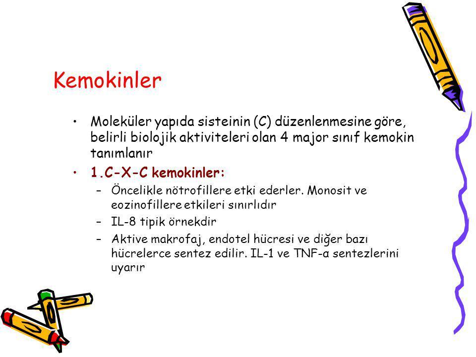 Kemokinler Moleküler yapıda sisteinin (C) düzenlenmesine göre, belirli biolojik aktiviteleri olan 4 major sınıf kemokin tanımlanır.