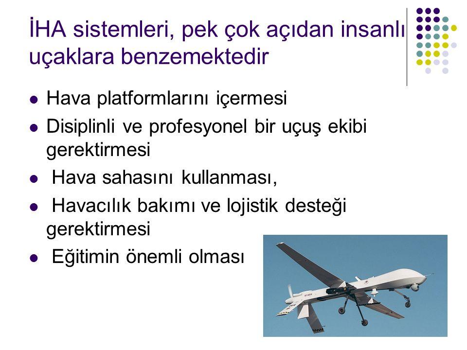 İHA sistemleri, pek çok açıdan insanlı uçaklara benzemektedir