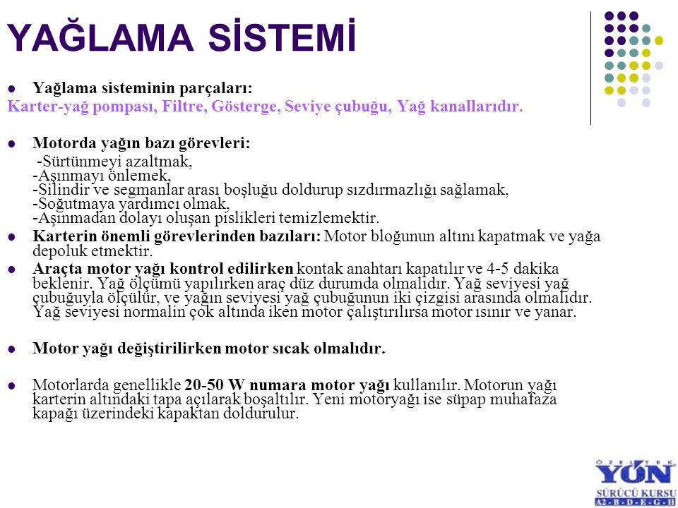 YAĞLAMA SİSTEMİ Yağlama sisteminin parçaları: