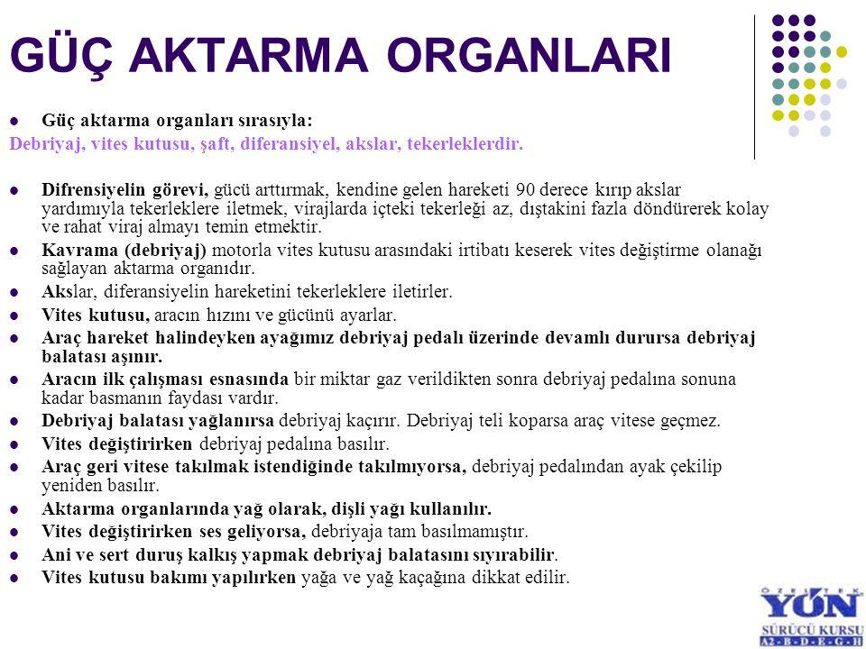 GÜÇ AKTARMA ORGANLARI Güç aktarma organları sırasıyla: