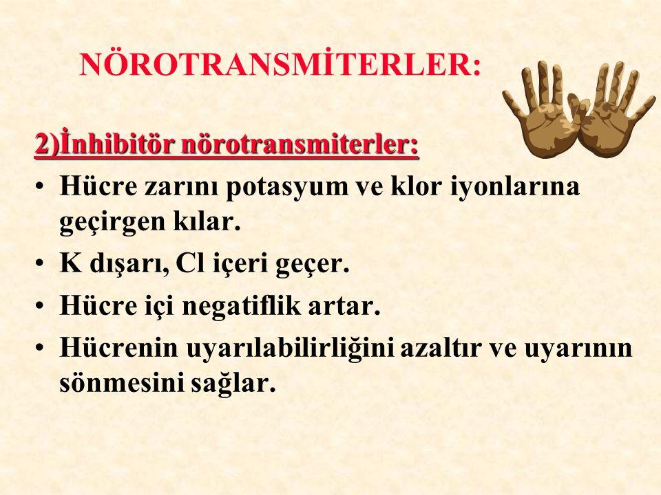 NÖROTRANSMİTERLER: 2)İnhibitör nörotransmiterler: