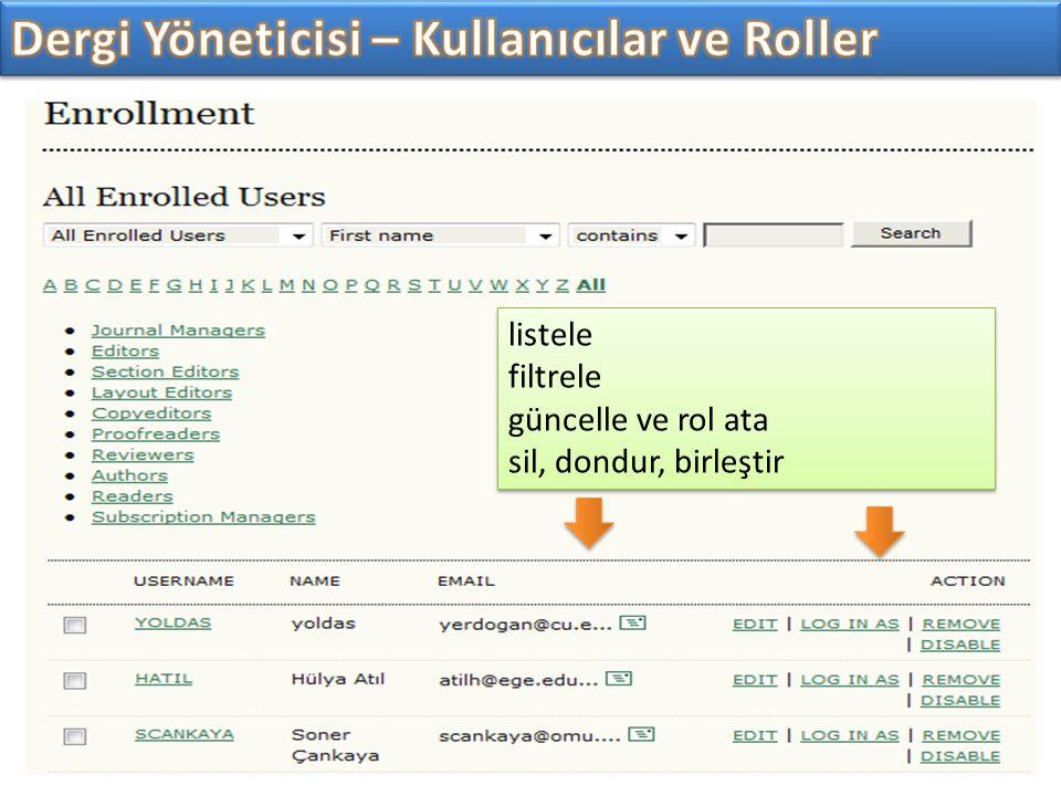 Dergi Yöneticisi – Kullanıcılar ve Roller