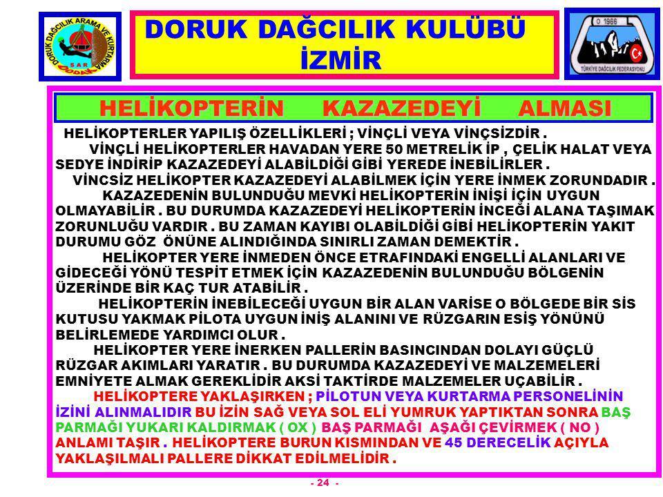 HELİKOPTERİN KAZAZEDEYİ ALMASI
