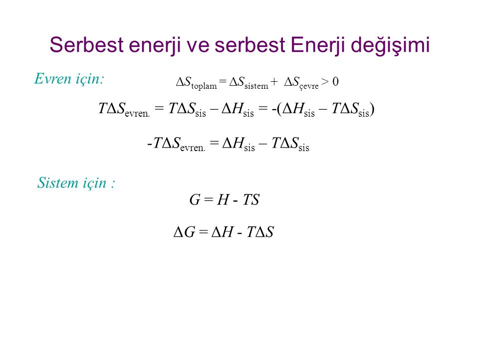 Serbest enerji ve serbest Enerji değişimi