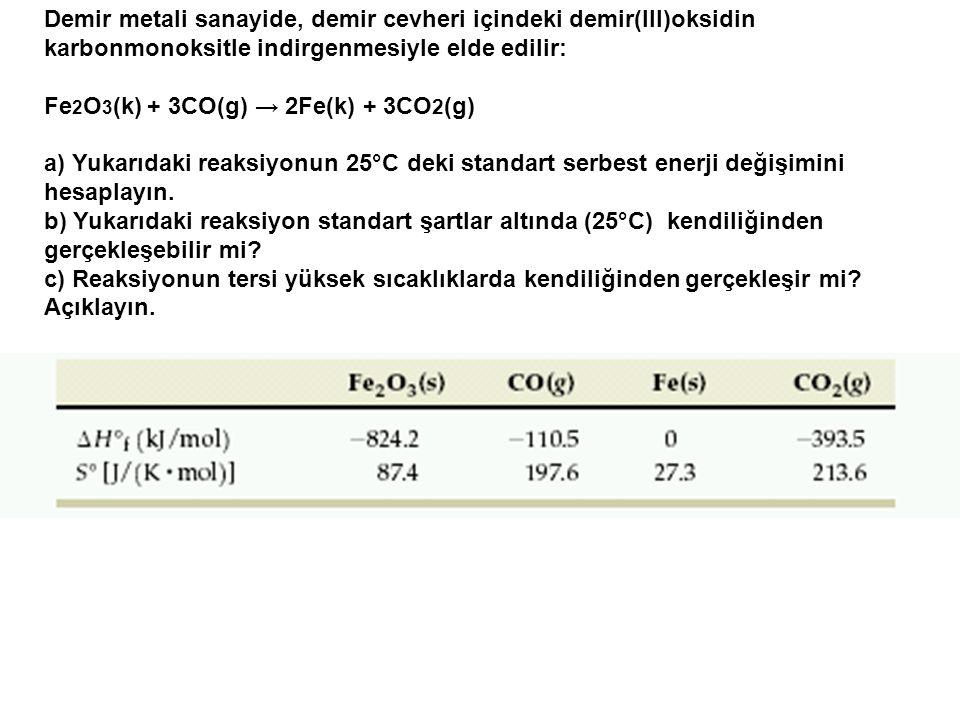 Demir metali sanayide, demir cevheri içindeki demir(III)oksidin karbonmonoksitle indirgenmesiyle elde edilir: