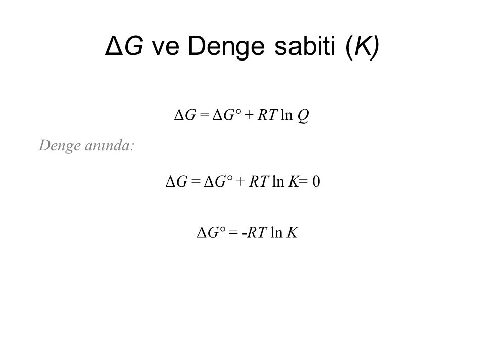 ΔG ve Denge sabiti (K) ΔG = ΔG° + RT ln Q Denge anında: