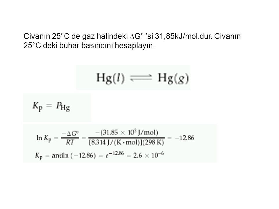 Civanın 25°C de gaz halindeki ∆G° 'si 31,85kJ/mol. dür