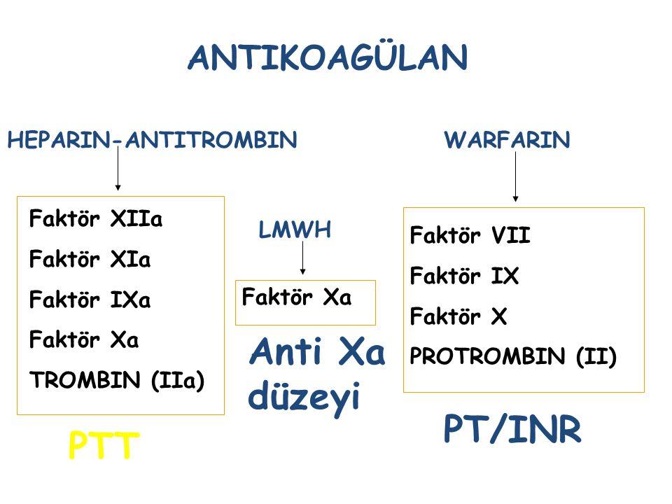 Anti Xa düzeyi PT/INR PTT ANTIKOAGÜLAN HEPARIN-ANTITROMBIN WARFARIN