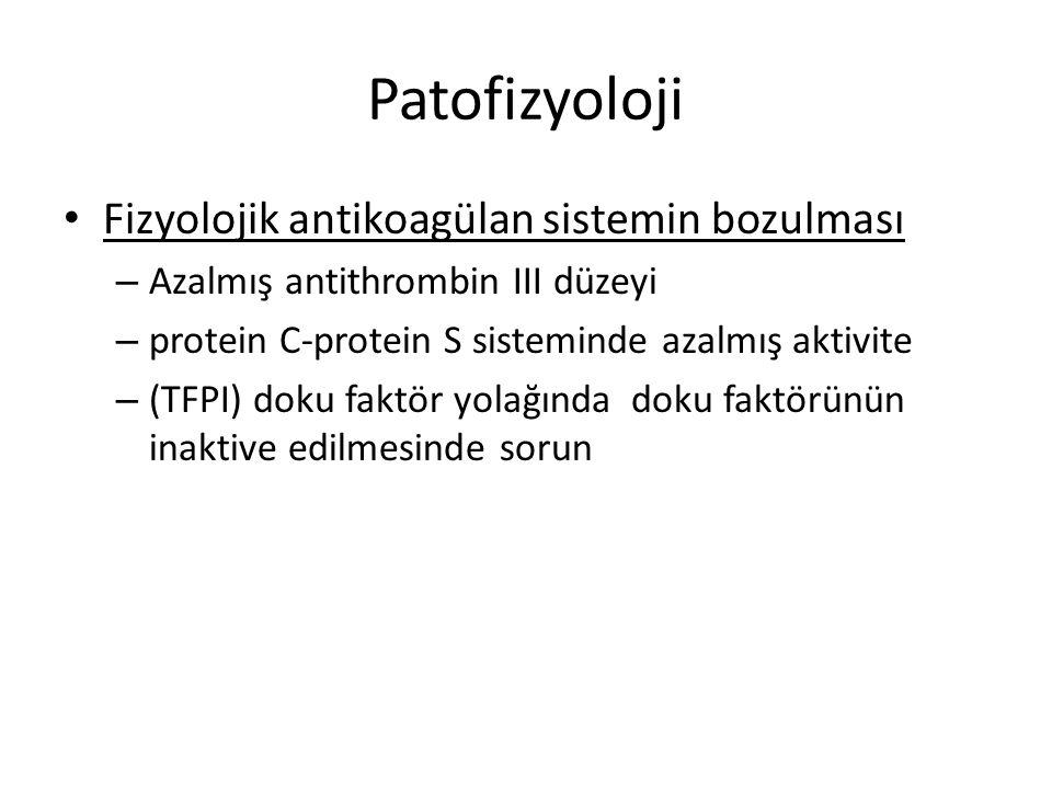 Patofizyoloji Fizyolojik antikoagülan sistemin bozulması