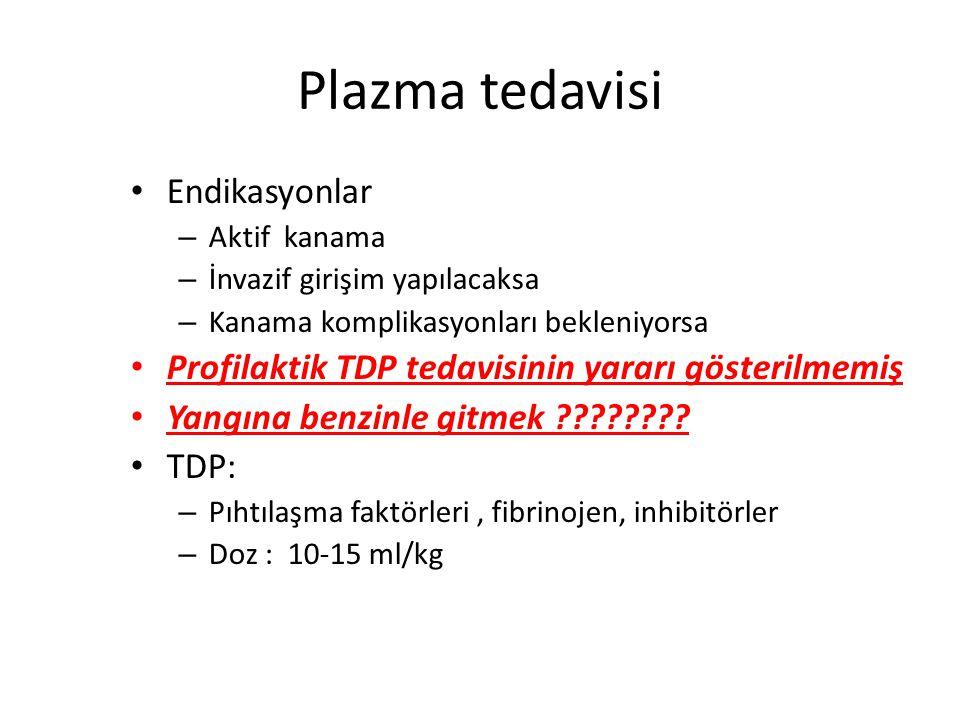 Plazma tedavisi Endikasyonlar
