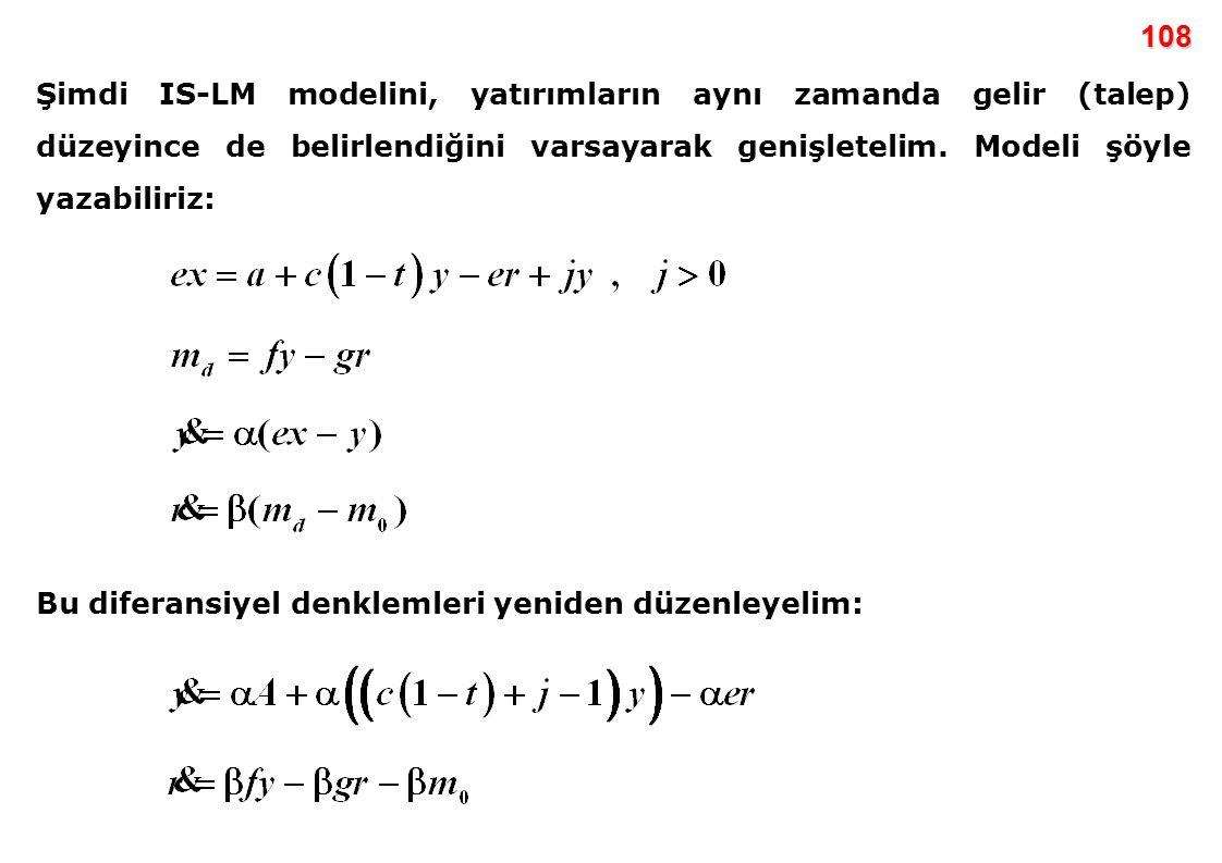 108 Şimdi IS-LM modelini, yatırımların aynı zamanda gelir (talep) düzeyince de belirlendiğini varsayarak genişletelim. Modeli şöyle yazabiliriz: