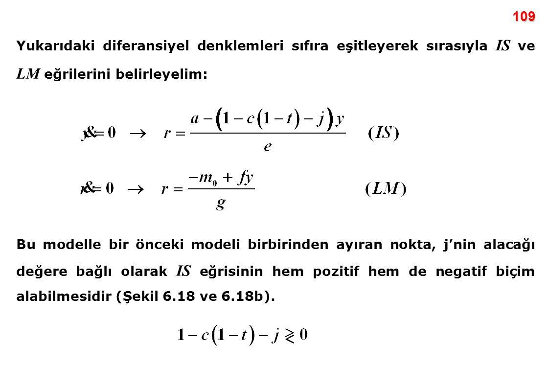 109 Yukarıdaki diferansiyel denklemleri sıfıra eşitleyerek sırasıyla IS ve LM eğrilerini belirleyelim: